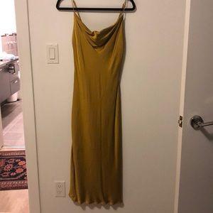 ZARA Yellow Satin Slip Dress